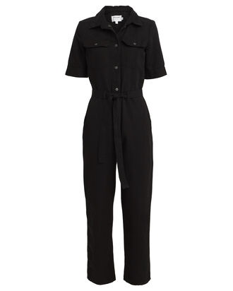 Belted Cotton Linen Jumpsuit, BLACK, hi-res