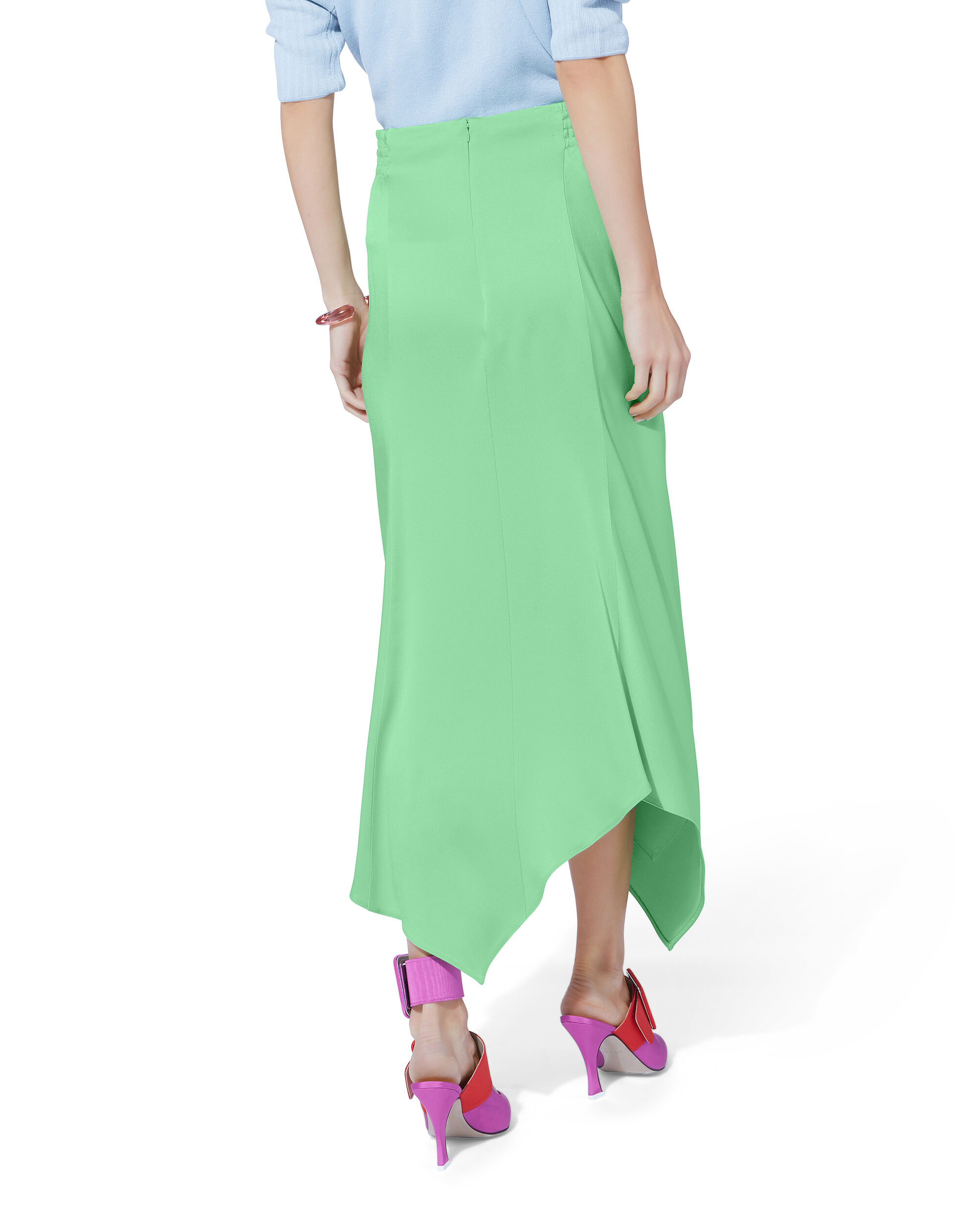 Satin Ruched Asymmetrical Skirt, GREEN-LT, hi-res