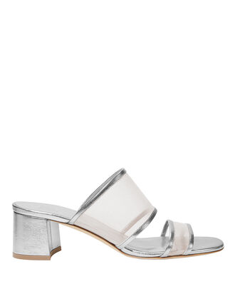 Martina Mesh Silver Slide Sandals, SILVER, hi-res