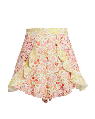 Floral Ruffle Patchwork Shorts, PURPLE/RED/GREEN FLORAL, hi-res