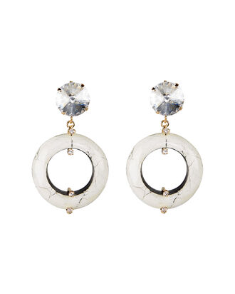 Olimpo Marbled Ring Earrings, WHITE/GOLD, hi-res
