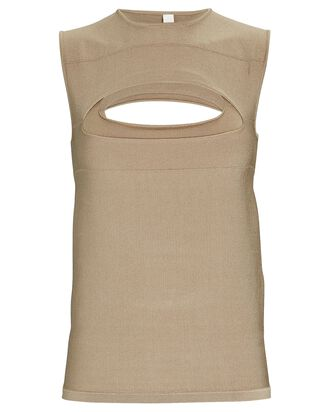 Cut-Out Knit Tank, OLIVE/ARMY, hi-res