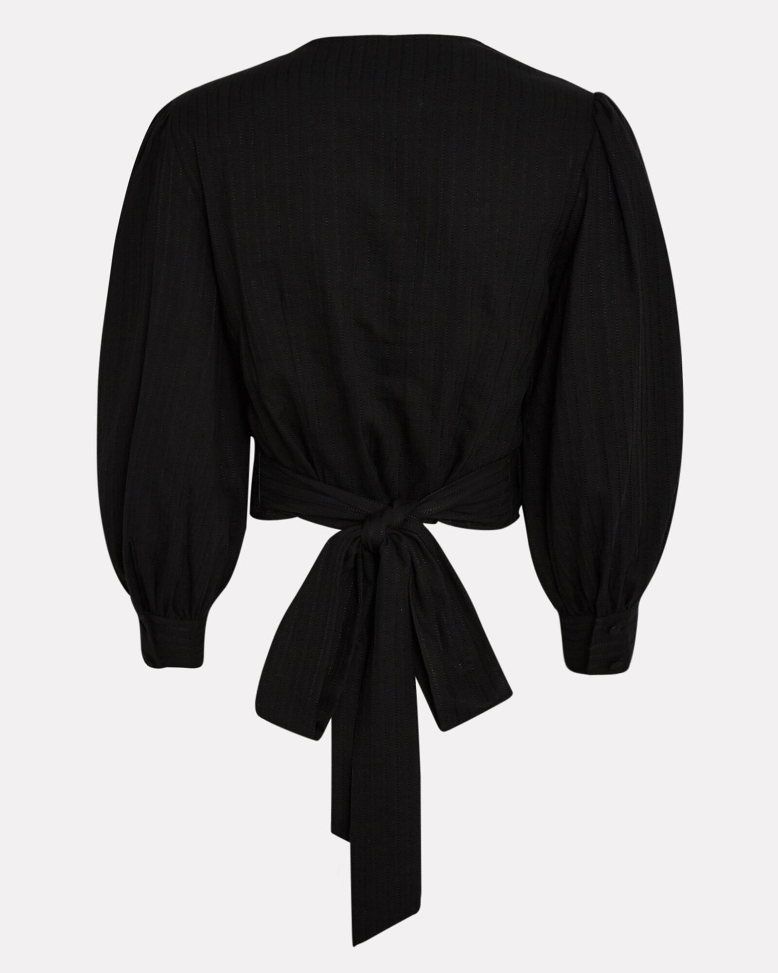 Gia Cotton-Blend Wrap Top, BLACK, hi-res