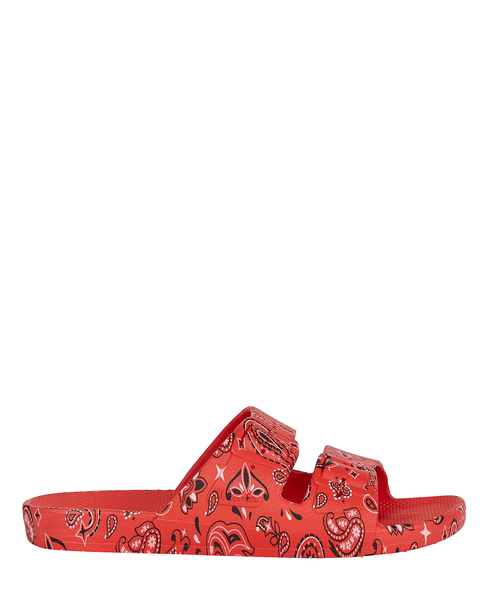 Bandana Printed Slide Sandals, RED, hi-res