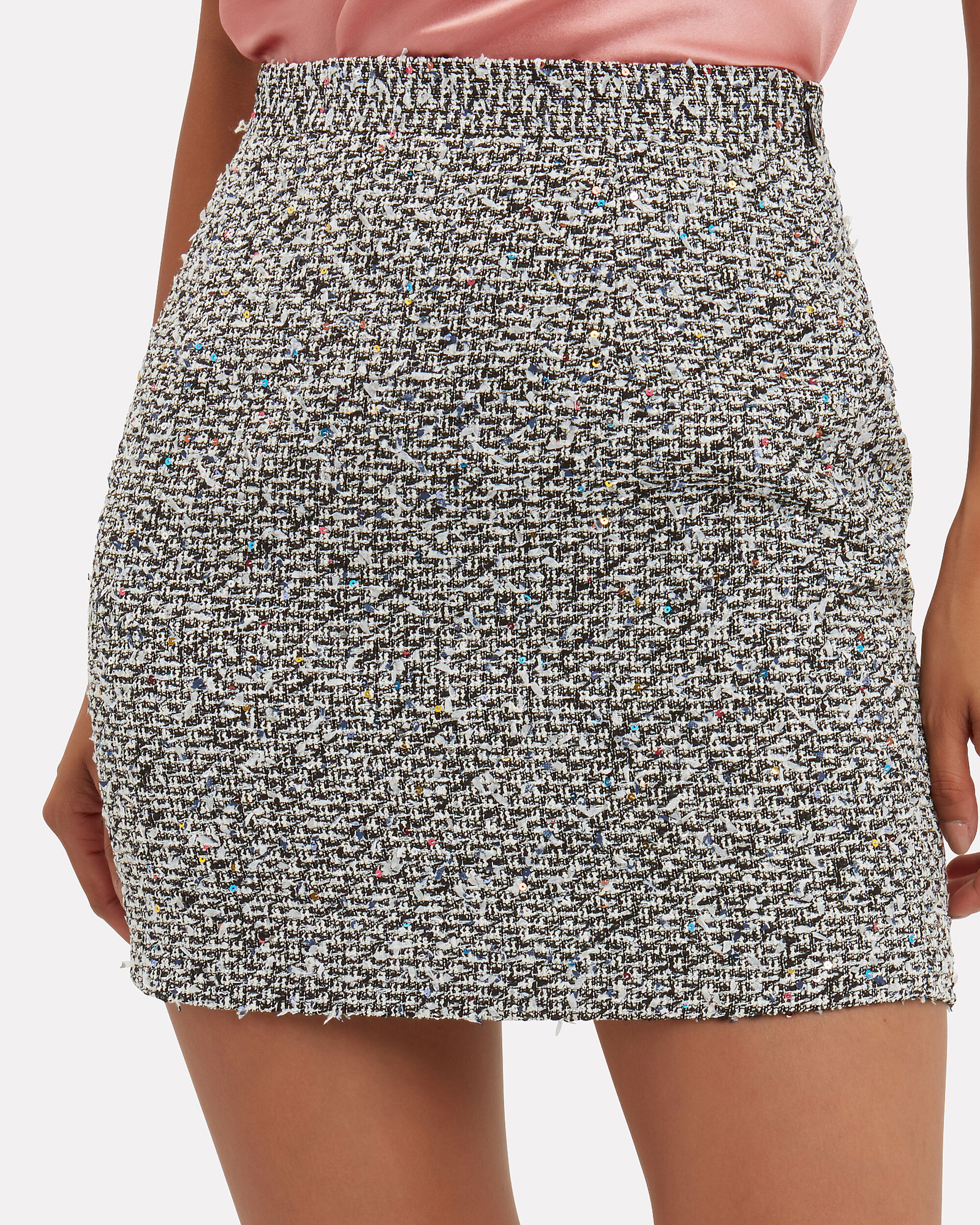 Sequin Tweed Mini Skirt, GREY, hi-res