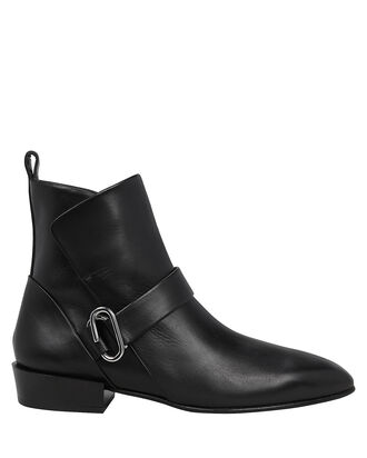 Alix Heeled Leather Booties, BLACK, hi-res