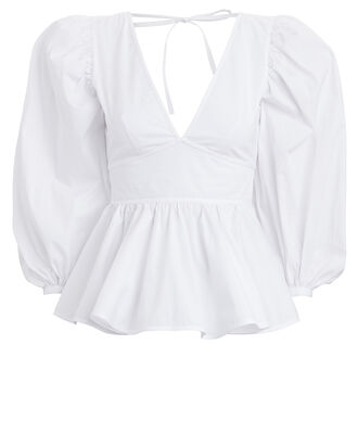 Luna Poplin Puff Sleeve Top, WHITE, hi-res