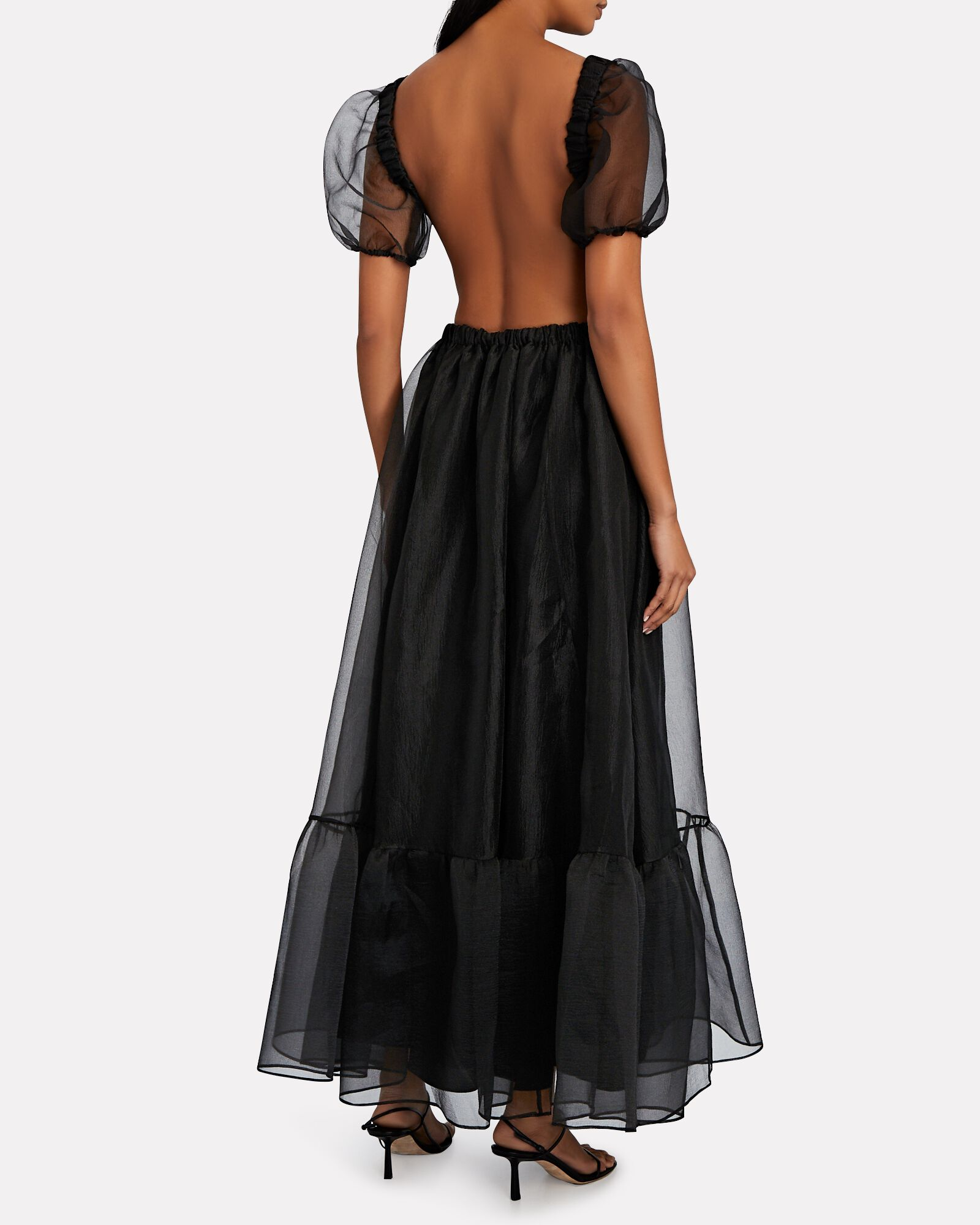 Penelope Organza Puff Sleeve Dress, BLACK, hi-res