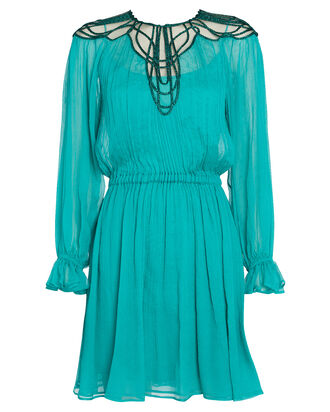 Embroidered Crepe Chiffon Mini Dress, TURQUOISE, hi-res