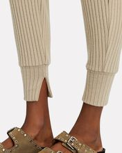 Brushed Rib Knit Joggers, BEIGE, hi-res