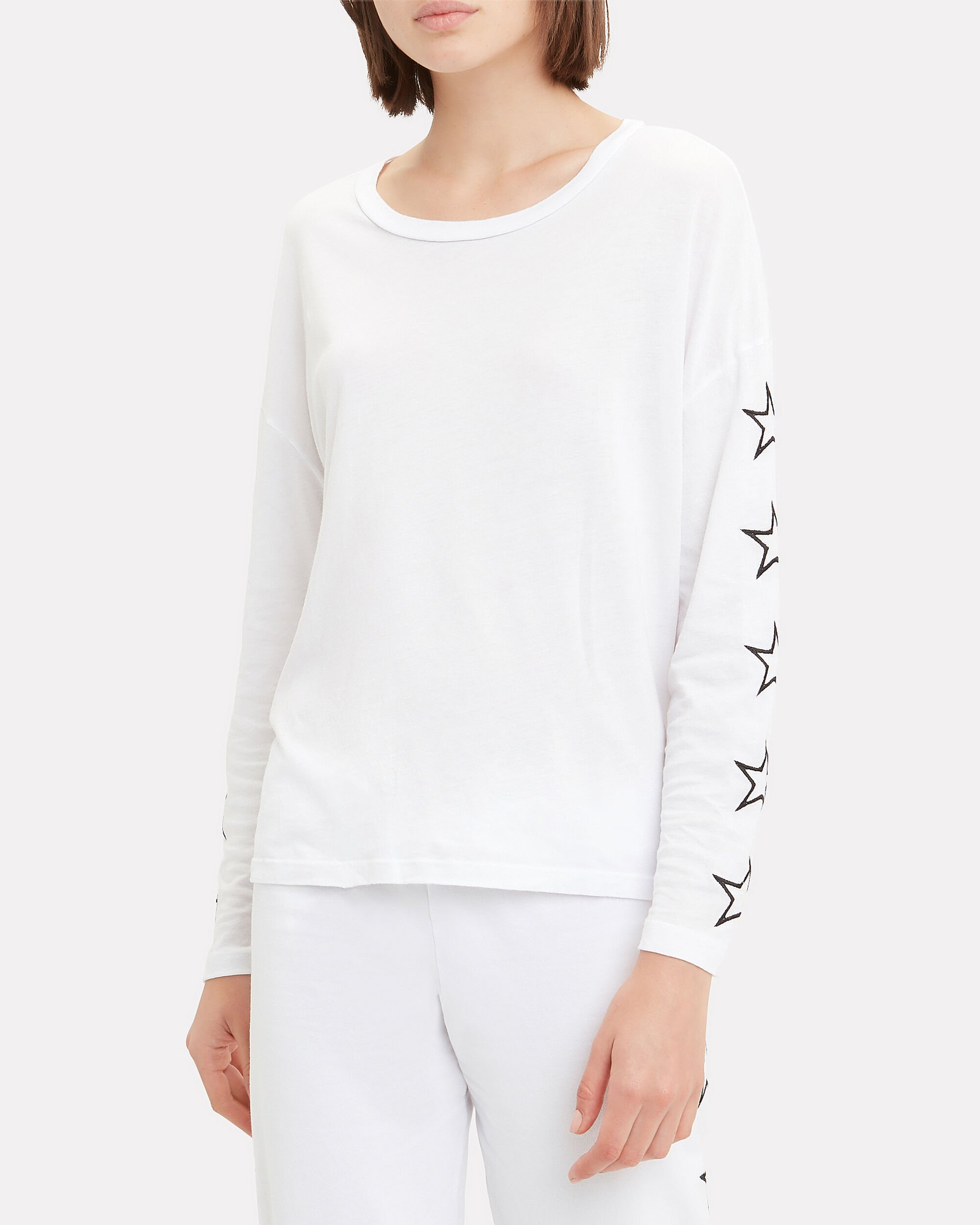Star Sleeve Top, WHITE, hi-res
