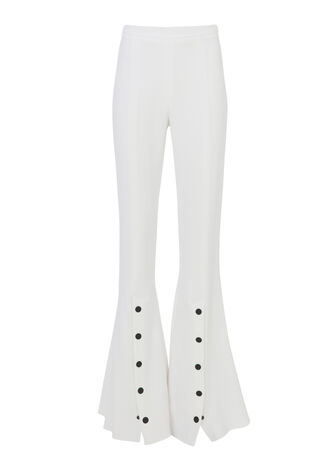 Emma Snap Detail Pants, WHITE, hi-res