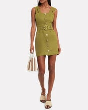 Twill Button Front Sleeveless Dress, GREEN, hi-res