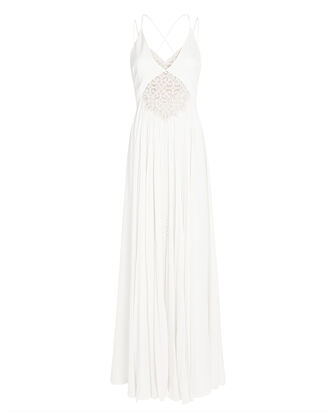 Kolbi Lace-Trim Pleated Maxi Dress, IVORY, hi-res