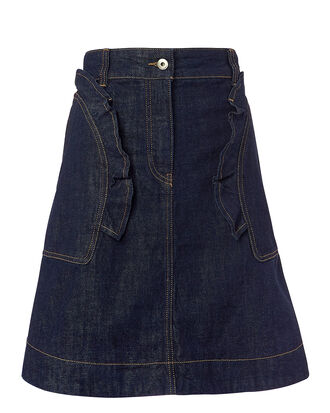 Ruffled Denim Mini Skirt, DENIM-DRK, hi-res