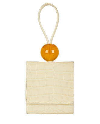 Croc-Embossed Ball Clutch, IVORY, hi-res