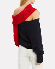 Two-Tone Slashed Sweater, NAVY/RED, hi-res
