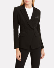 Crepe Double Breasted Blazer, BLACK, hi-res