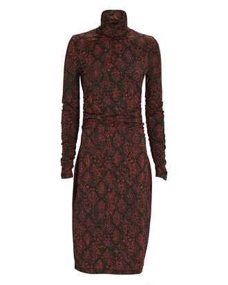 Snake Print Jersey Turtleneck Dress, BLACK/BROWN, hi-res