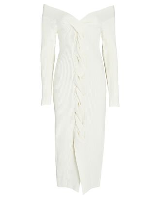 Triana Off-The-Shoulder Sweater Dress, WHITE, hi-res
