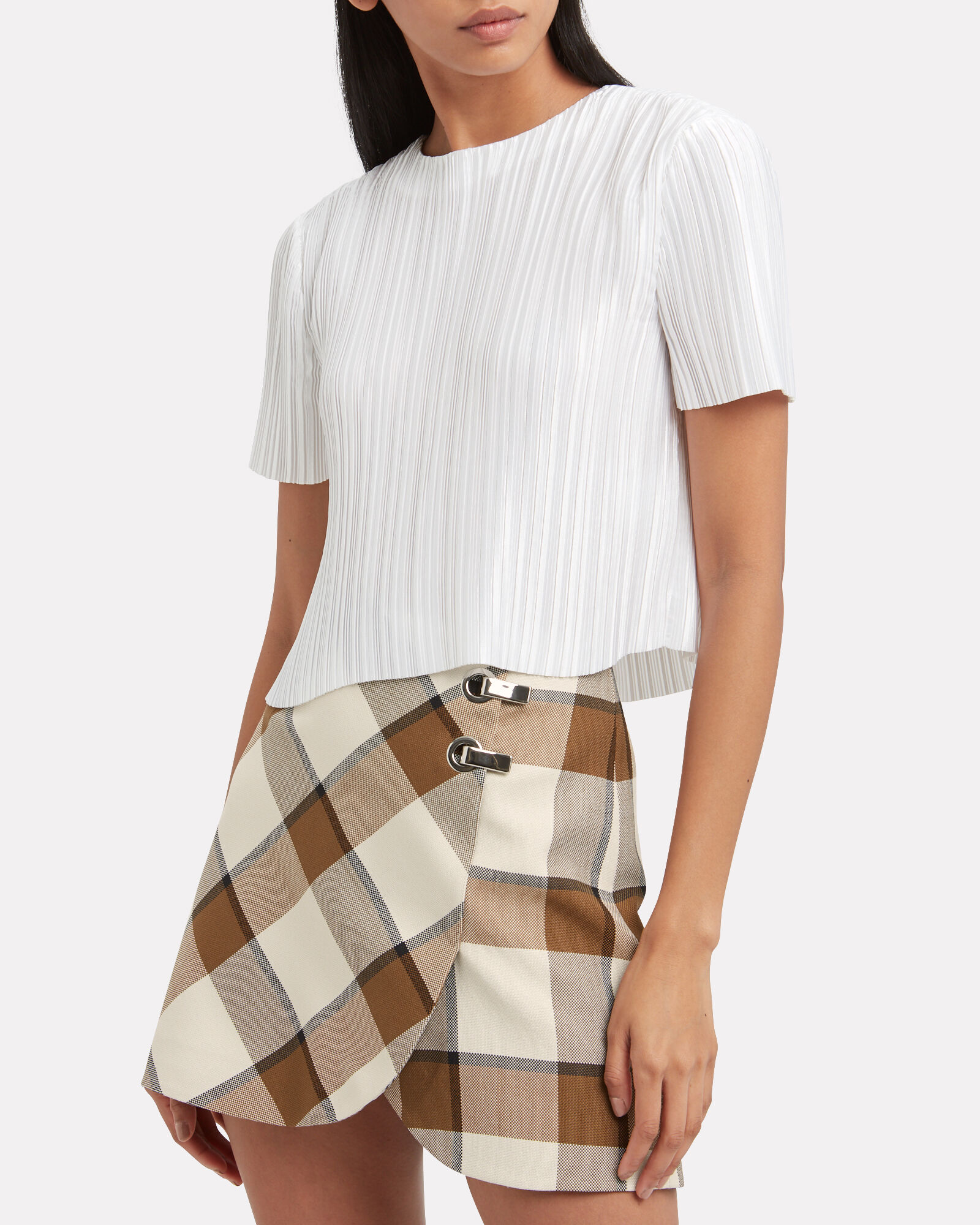 Pleated Cropped Sateen Top, WHITE, hi-res