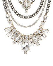 Pre-Layered Crystal Necklace, METALLIC, hi-res