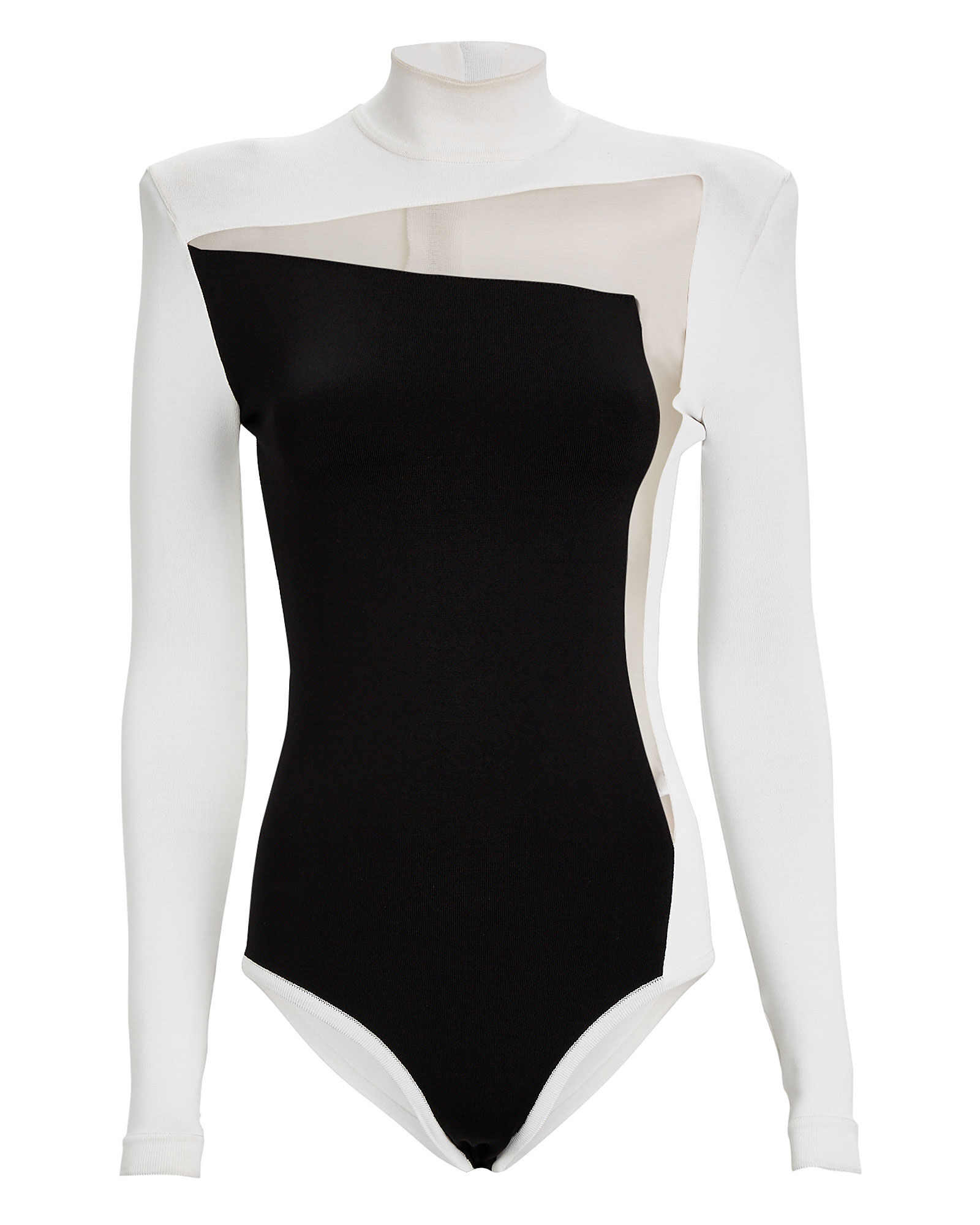 Turtleneck Cut-Out Tulle Bodysuit, BLK/WHT, hi-res