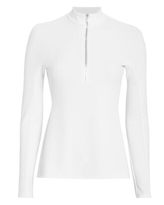 Zip-Up White Top, WHITE, hi-res