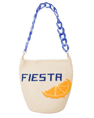 Woven Siesta Shoulder Bag, BEIGE/YELLOW/BLUE, hi-res