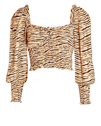Willow Smocked Crepe Blouse, MULTI, hi-res