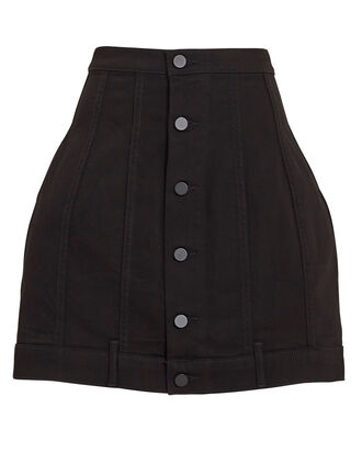 Seamed Black Rinse Skirt, BLACK, hi-res