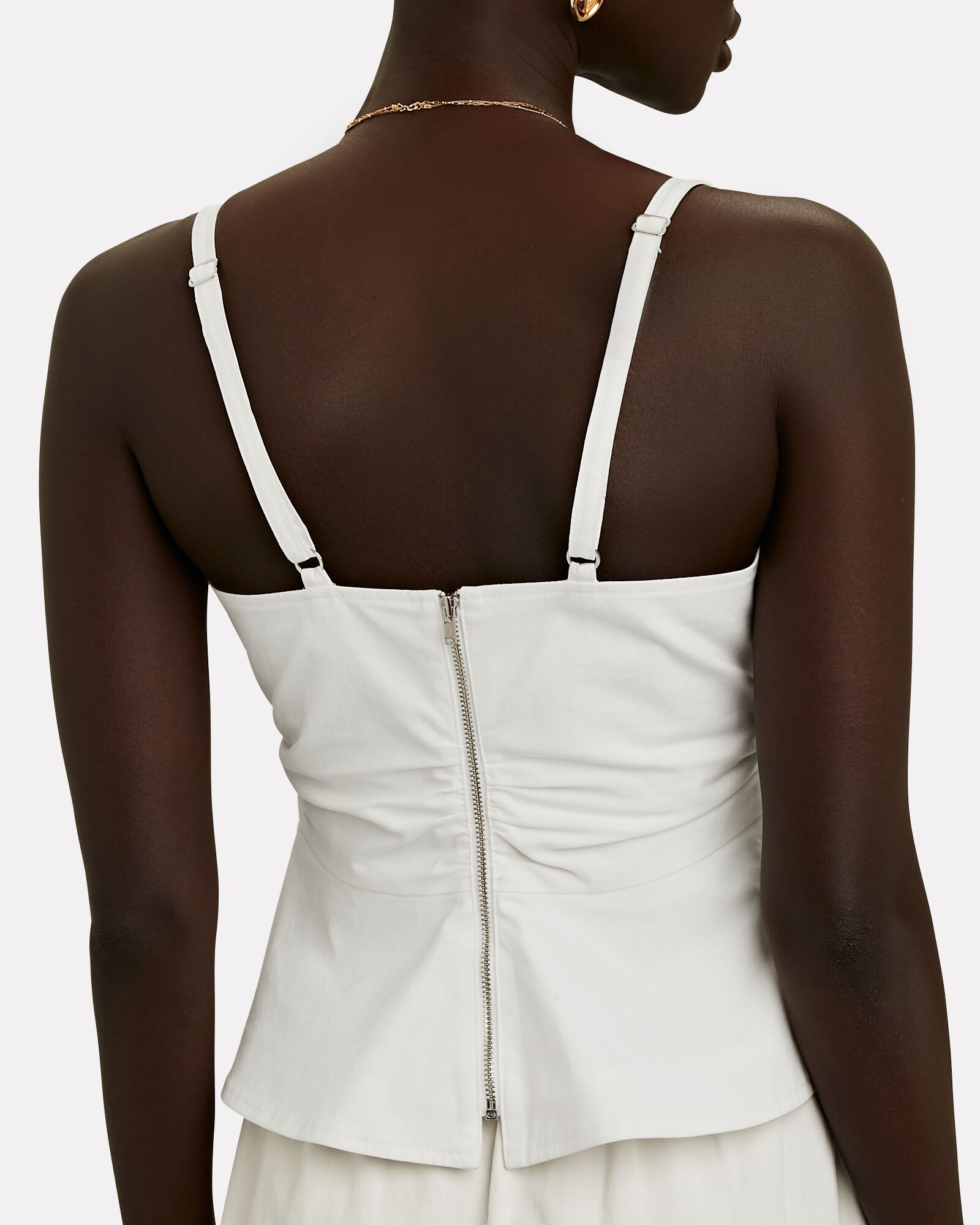 Lauryn Ruched Cotton Sleeveless Top, WHITE, hi-res