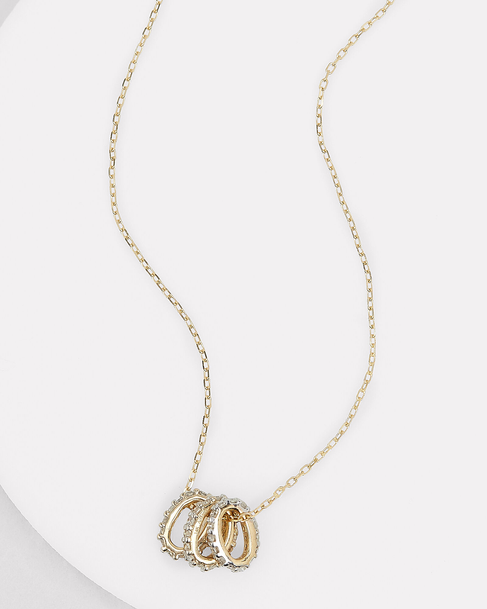 Three Diamond Rings Necklace, GOLD, hi-res