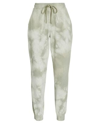 Cropped Cotton Tie-Dye Joggers, LIGHT GREEN, hi-res