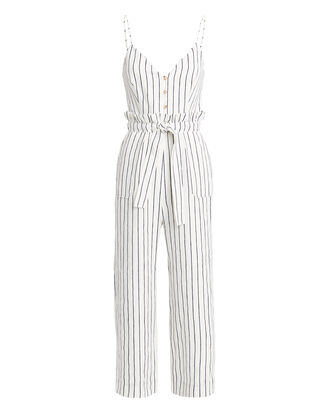 Laurine Striped Jumpsuit, IVORY/NAVY, hi-res