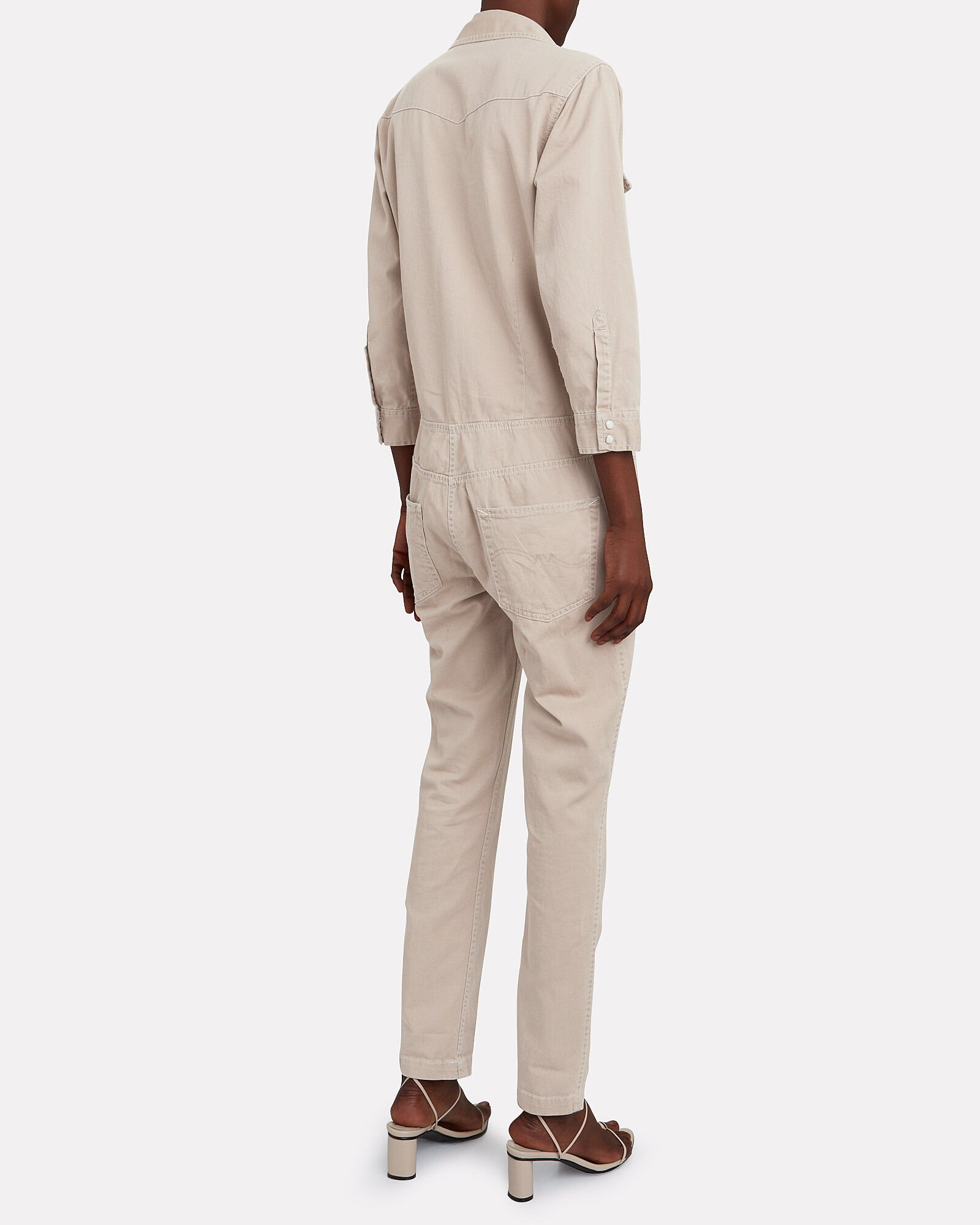 Cowboy Denim Jumpsuit, BEIGE, hi-res