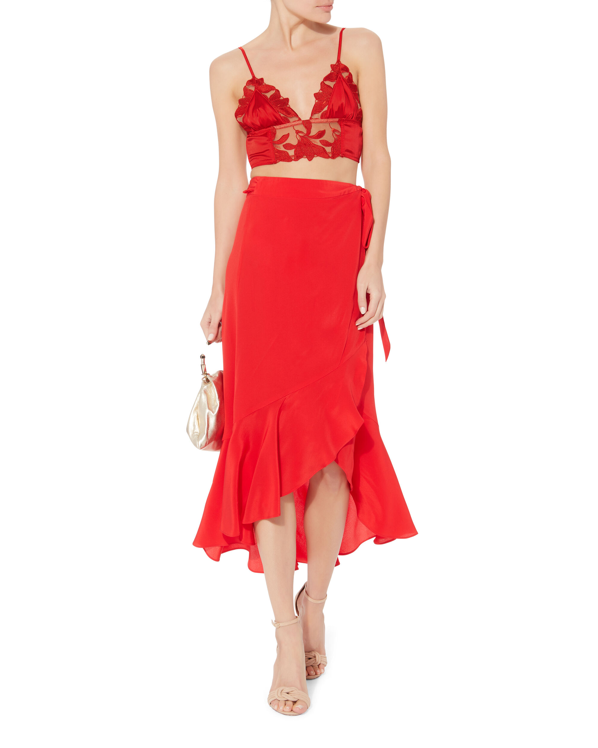 Lily Lace Longline Red Bra, RED, hi-res
