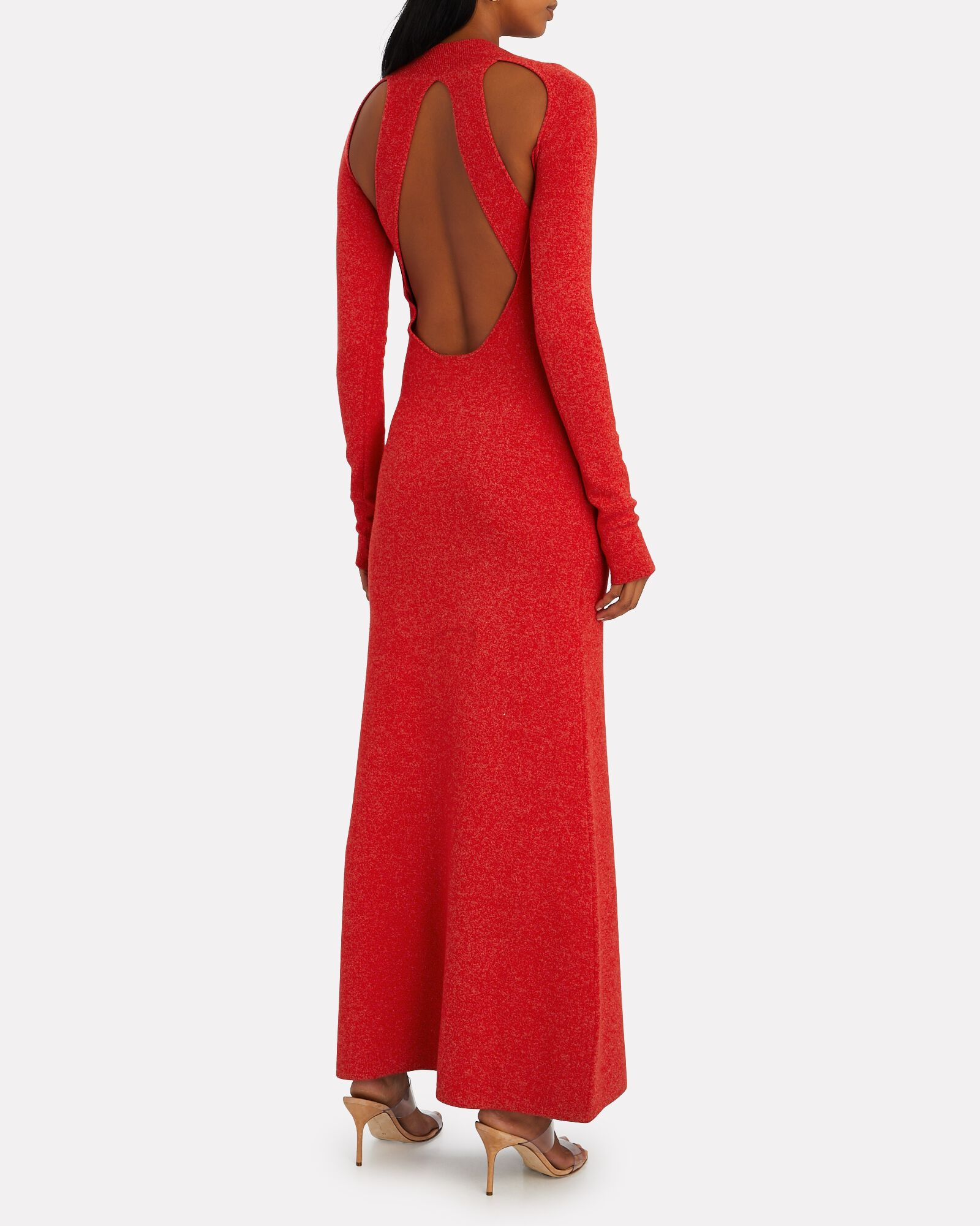 Cut-Out Merino Wool Sweater Dress, RED, hi-res