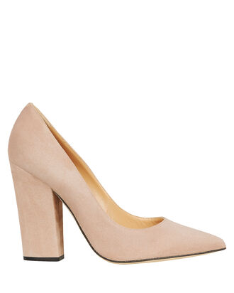 Suede Block Heel Pumps, BEIGE, hi-res