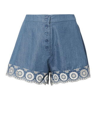 Lace Trim Chambray Shorts, DENIM, hi-res