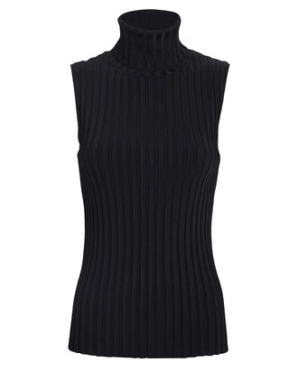 Stefania Sleeveless Turtleneck Top, BLACK, hi-res