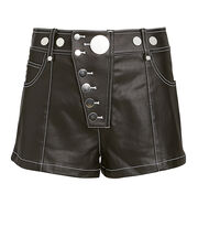 Snap Detail Coated Twill Shorts, BLACK, hi-res