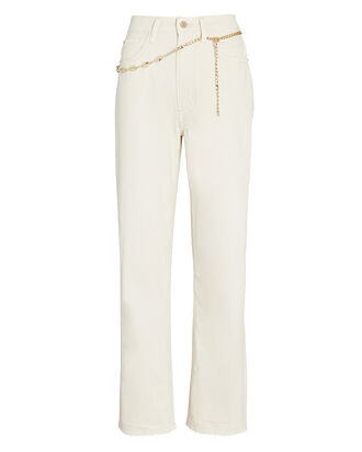 Dad Chain-Trimmed High-Rise Jeans, UNBLEACHED, hi-res
