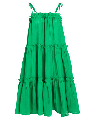 Cotton Gauze Ruffle Peasant Dress, EMERALD GREEN, hi-res