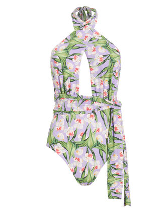 Floral Cross Front One Piece Swimsuit, LILAC/FLORAL, hi-res