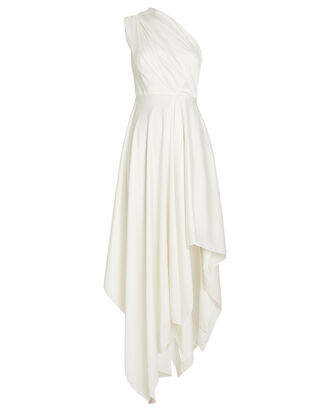 Marine One Shoulder Satin Dress, IVORY, hi-res