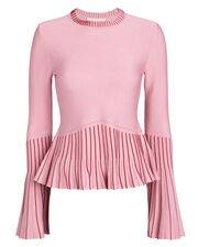 Pleated Trims Lurex Knit Top, PINK, hi-res