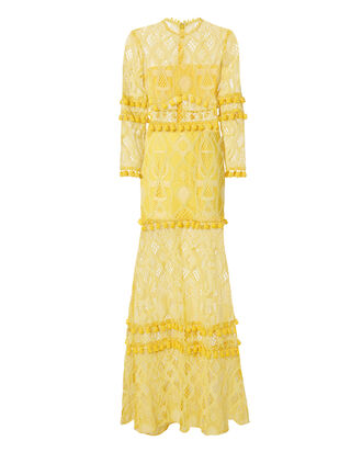 Thora Yellow Lace Pom-Pom Dress, YELLOW, hi-res