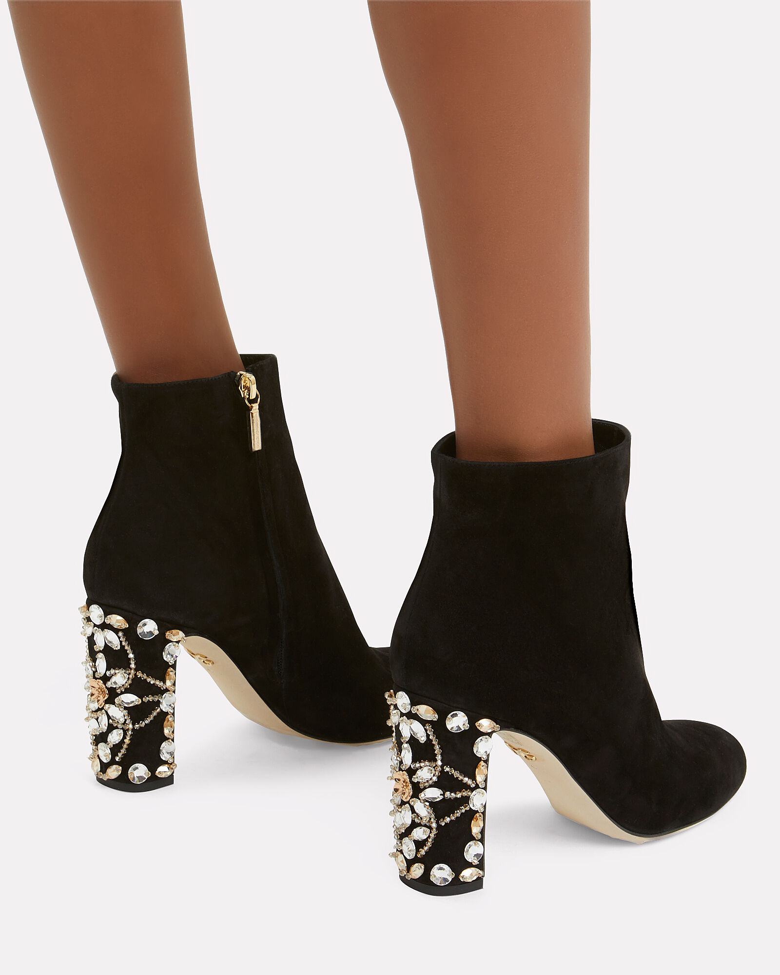 Crystal Heel Booties, BLACK, hi-res