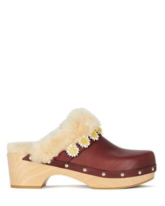 Jean Shearling-Trimmed Daisy Clogs, BROWN, hi-res